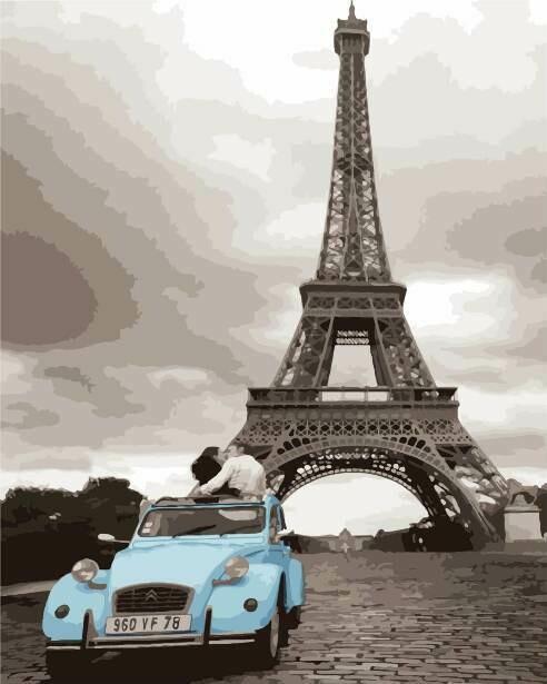 Картина по номерам (40х50см) Цветной MG3254 Кабриолет у башни