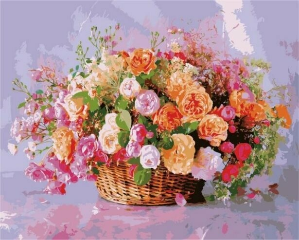 Картина по номерам (40х50см) Цветной MG3204 Корзина роз