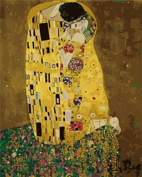 Картина по номерам (40х50см) Цветной MG543 Поцелуй Густав Климт