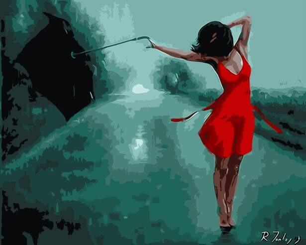 Картина по номерам (40х50см) Цветной MG6821 Танцующая под дождём