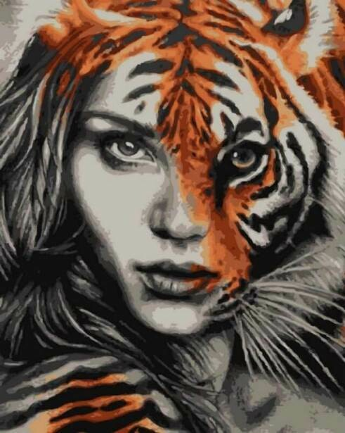 Картина по номерам (40х50см) Цветной MG6974 Тигрица