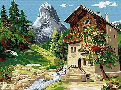 Картина по номерам (30х40см) Цветной EX6081 Дом у горы