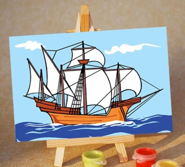 Раскраска по номерам на холсте (10x15см) ТМ Цветной PA182 Кораблик