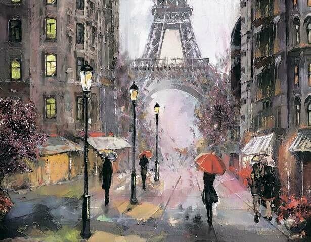 Набор алмазной вышивки (40х50см) Цветной LG249 Париж под дождем