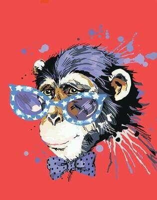 Набор алмазной вышивки (40х50см) Цветной LG188 Стильная обезьянка