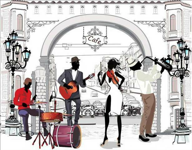 Набор алмазной вышивки (40х50см) Цветной LG215 Уличные музыканты