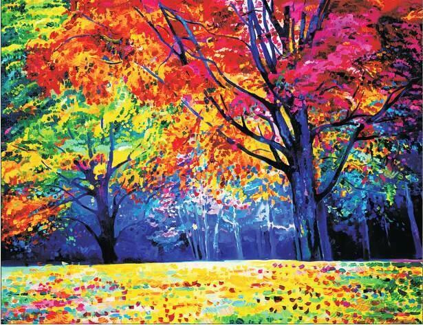 Набор алмазной вышивки (40х50см) Цветной LG229 Радужный лес