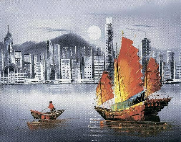Набор алмазной вышивки (40х50см) Цветной LG253 Ночной Гонконг