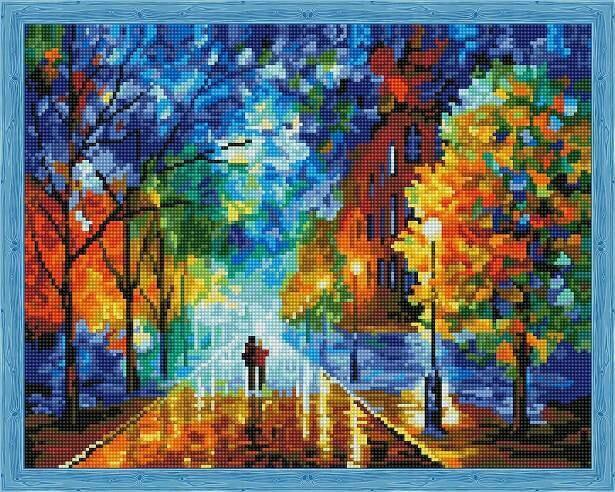 Набор алмазной вышивки (40х50см) Цветной QA200223 Осенняя прогулка