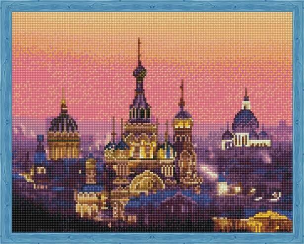 Набор алмазной вышивки (40х50см) Цветной QA202994 Вечерний Петербург