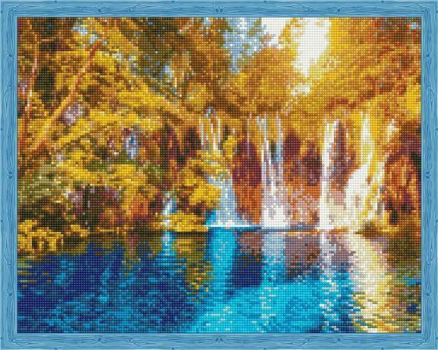 Набор алмазной вышивки (40х50см) Цветной QA204014 Осенний водопад