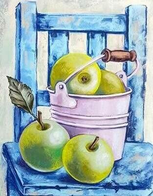 Набор алмазной вышивки (40х50см) Цветной LG128 Натюрморт с зелеными яблоками