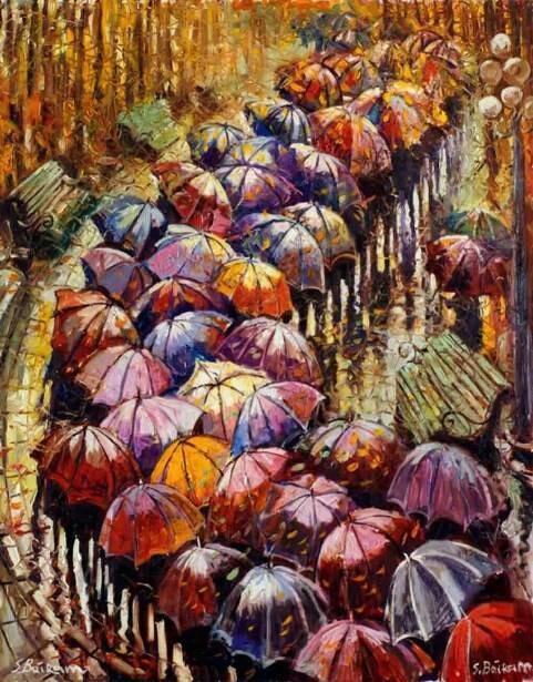 Набор алмазной вышивки (40х50см) Цветной LG152 Осенние зонты