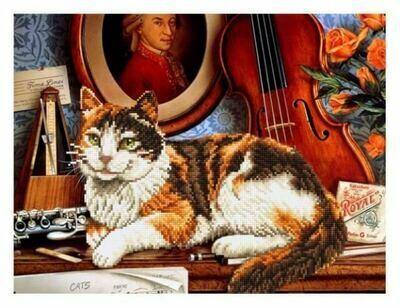 Набор алмазной вышивки (40х50см) Цветной LGP008 Кот и скрипка