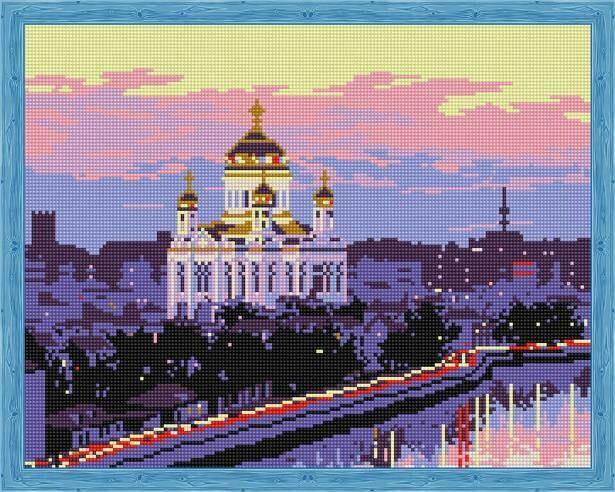 Набор алмазной вышивки (40х50см) Цветной QA202171 Храм Христа Спасителя
