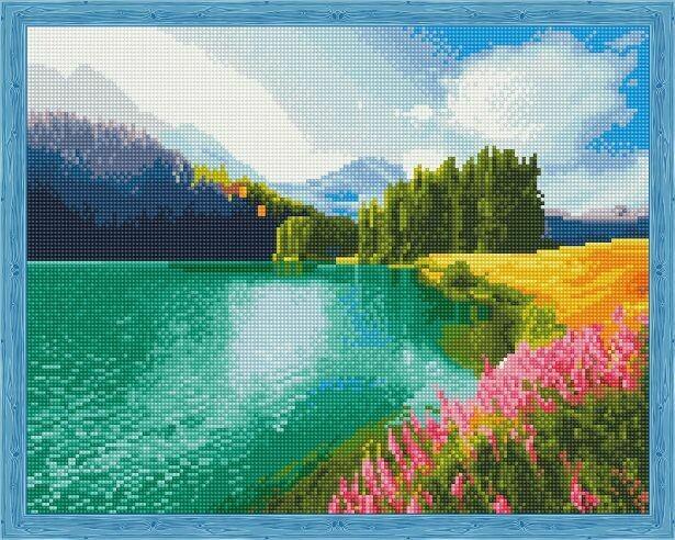 Набор алмазной вышивки (40х50см) Цветной QA204009 Цветущее поле у озера