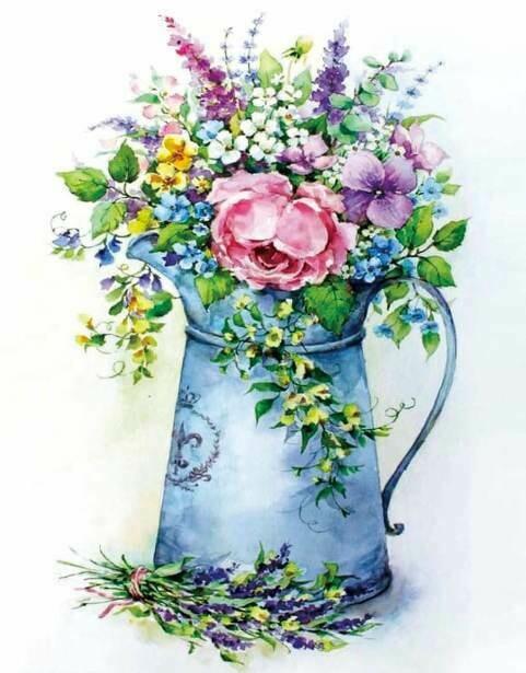 Набор алмазной вышивки (40х50см) Цветной LG149 Романтичный букет в лейке