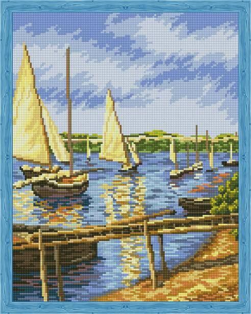 Набор алмазной вышивки (40х50см) Цветной QA202284 Парусные лодки