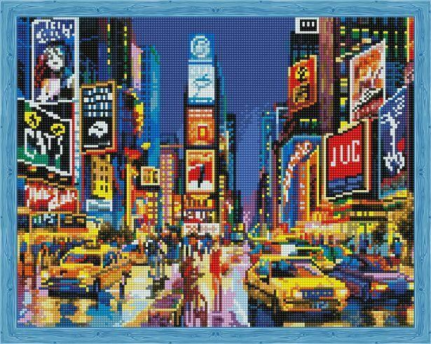 Набор алмазной вышивки (40х50см) Цветной QA202734 Нью Йорк в огнях рекламы