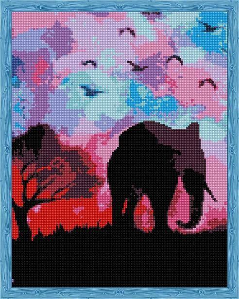 Набор алмазной вышивки (40х50см) Цветной QA204138 Пурпурное Сафари