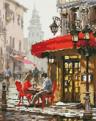 Набор алмазной вышивки (40х50см) Цветной LG126 Влюбленные в кафе