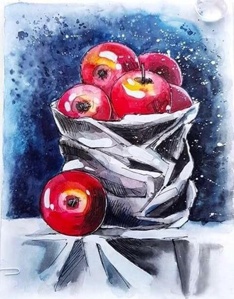Набор алмазной вышивки (40х50см) Цветной LG129 Натюрморт с яблоками
