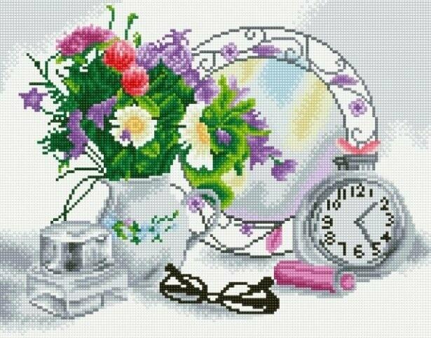 Набор алмазной вышивки (40х50см) Цветной LG080 Цветочное настроение