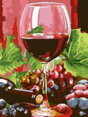 Картина по номерам (30х40см) Цветной EX5308 Бокал красного вина