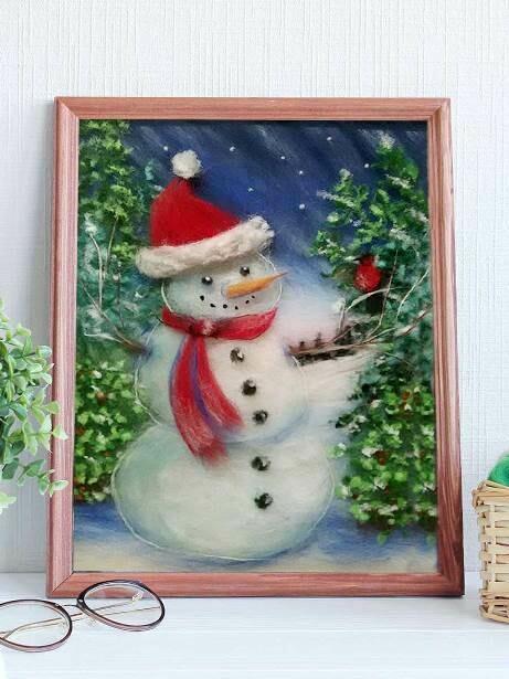 Набор для валяния из шерсти картины Цветной SH021 Снеговик