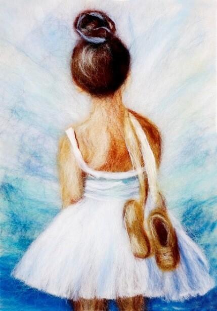 Набор для валяния из шерсти картины Цветной SH053 Маленькая балерина