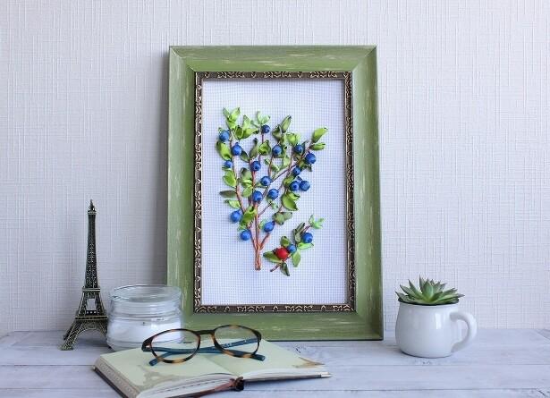 Набор для вышивания лентами (ТМ Цветной) VL017 Куст голубики