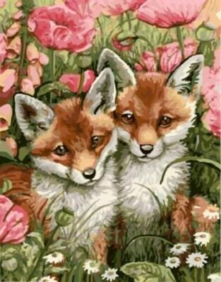 Картина по номерам (40х50см) Цветной GX9546 Лисички-сестрички