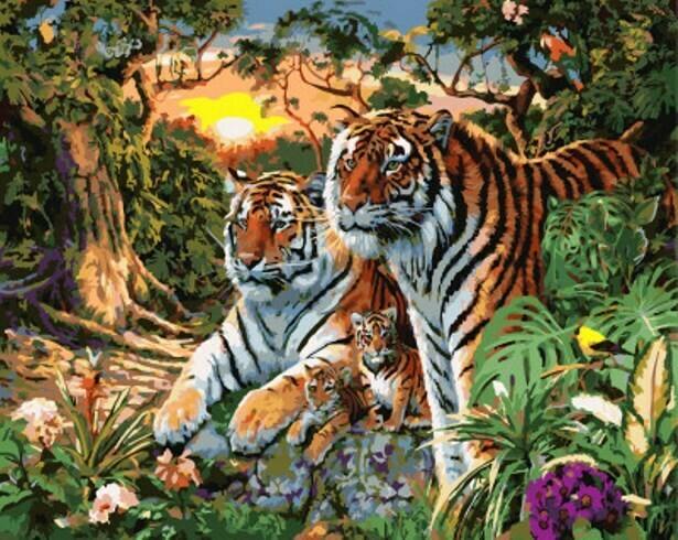 Картина по номерам (40х50см) Цветной GX7861 Семья тигров