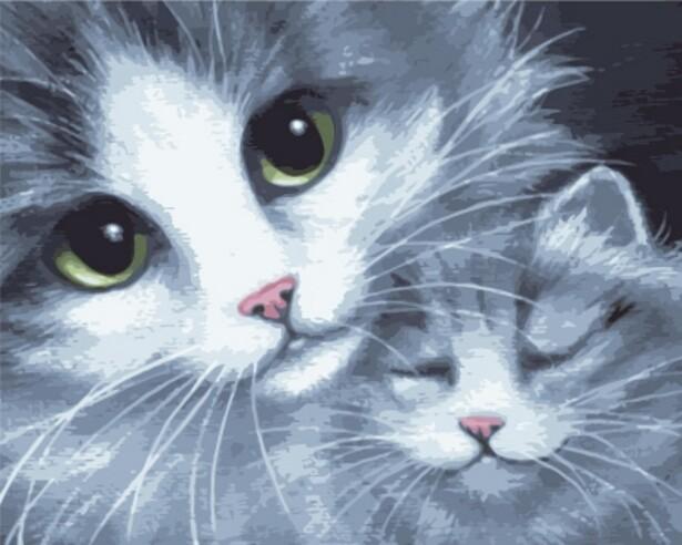 Картина по номерам (40х50см) Цветной GX7931 Кошка с котенком