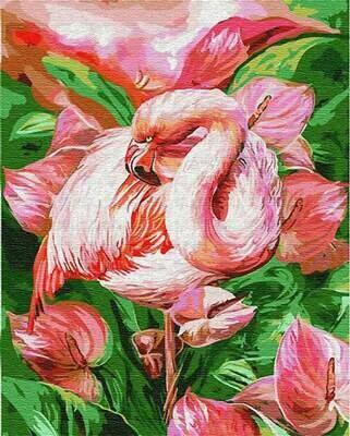 Картина по номерам (40х50см) Цветной GX23743 Розовый фламинго