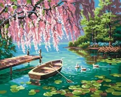 Картина по номерам (40х50см) Цветной GX9871 Уточки и лодочка