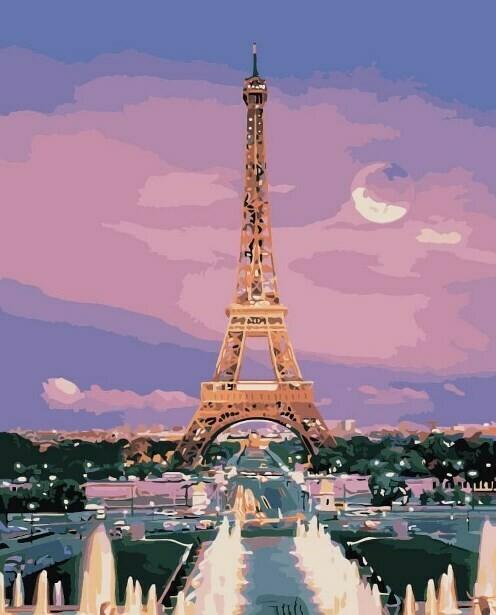 Картина по номерам (40х50см) Цветной MG3205 Вид на Эйфелеву башню