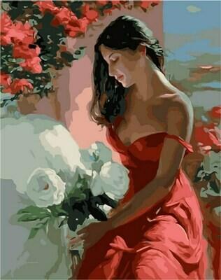 Картина по номерам (40х50см) Цветной MG1085 Девушка с белыми цветами