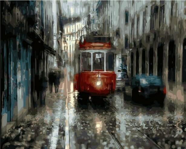 Картина по номерам (40х50см) Цветной MG2041 Лиссабонский трамвай