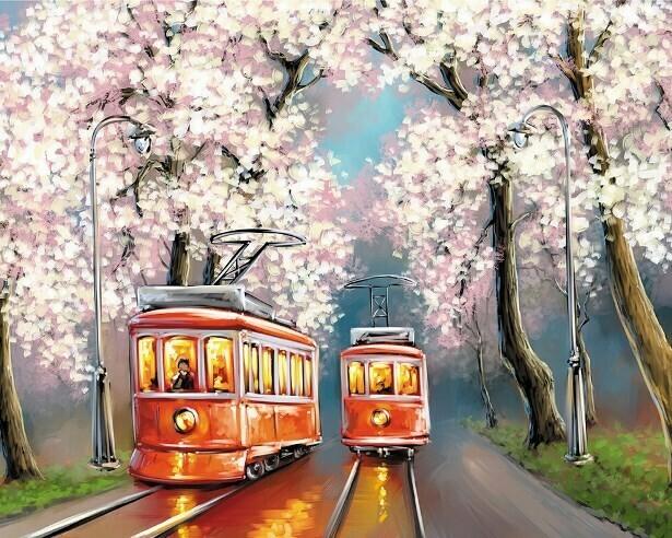 Картина по номерам (40х50см) Цветной MG2418 Романтика весенних трамваев