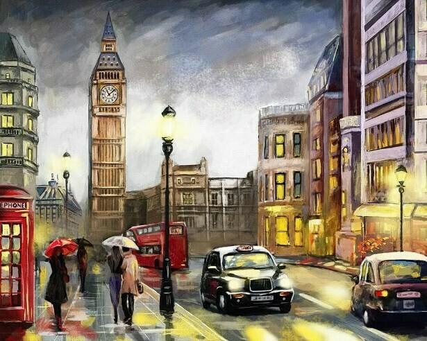 Картина по номерам (40х50см) Цветной MG2162 Красочный Лондон