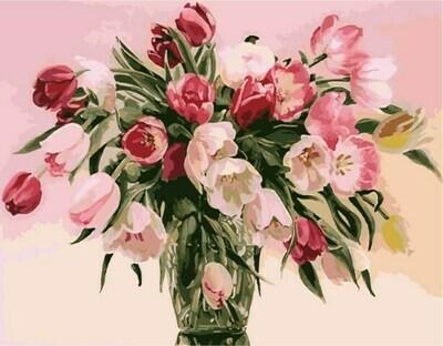 Картина по номерам (40х50см) Цветной MG1072 Тюльпаны в вазе