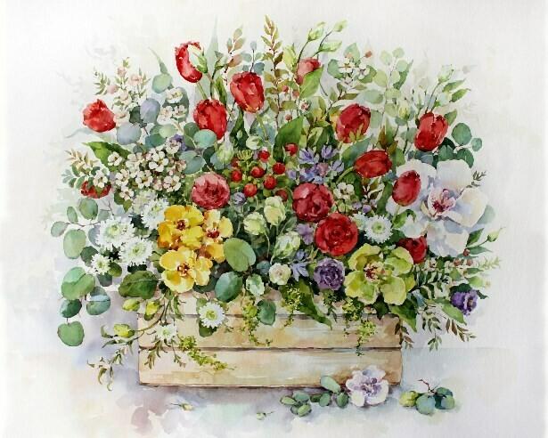 Картина по номерам (40х50см) Цветной MG2183 Садовый букет в ящике