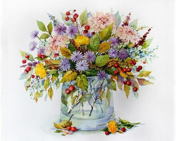 Картина по номерам (40х50см) Цветной MG2186 Осенний букет