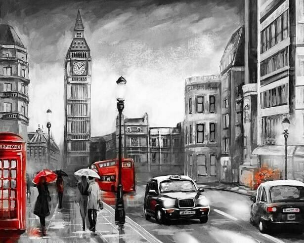 Картина по номерам (40х50см) Цветной MG2161 Лондон под дождем