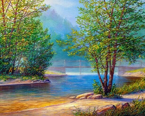 Картина по номерам (40х50см) Цветной MG2151 Река в лесу
