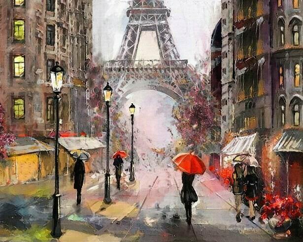 Картина по номерам (40х50см) Цветной MG2160 Париж под дождем