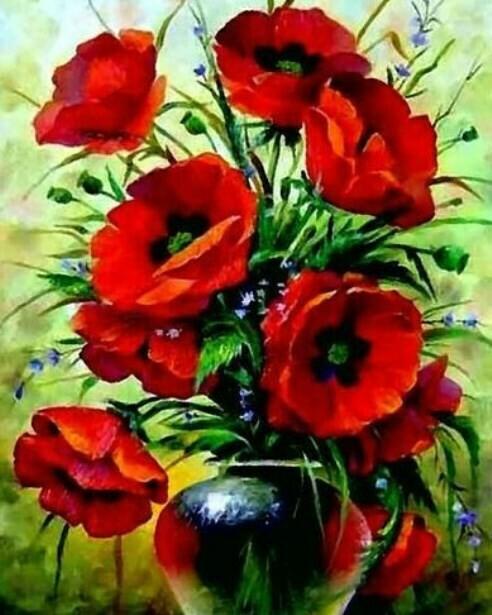 Картина по номерам (40х50см) Цветной MG2142 Букет маков
