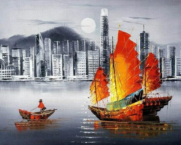 Картина по номерам (40х50см) Цветной MG2164 Ночной Гонконг