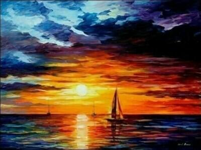 Картина по номерам (40х50см) Цветной MG060 Корабли уходят на закат